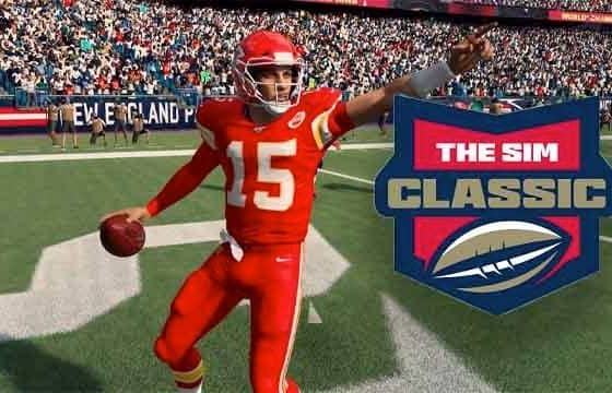 Madden 20 generated image of Patrick Mahomes with an NFL The Sim Classic logo